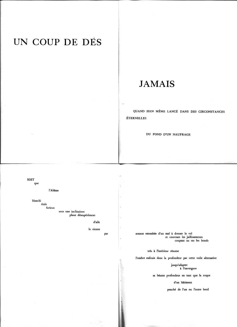 """Stéphane Mallarmé, """"Un coup de dés"""", 1897 (prima, terza, quarta e quinta pagina)"""