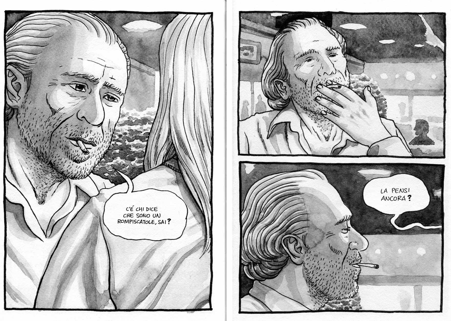 "Flavio Montelli, ""Goodbye Bukowski"" (Coconino 2012), pp. 136-137"