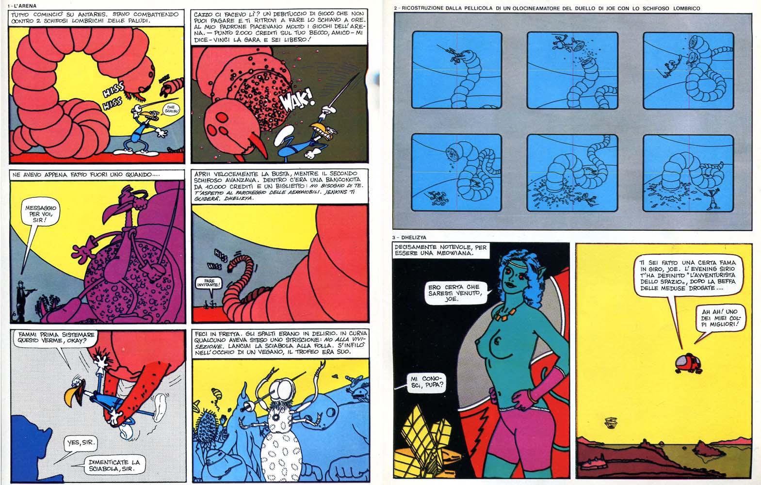 """Massimo Mattioli, """"Joe Galaxy e le perfide lucertole di Callisto IV"""", da Frigidaire n.1"""