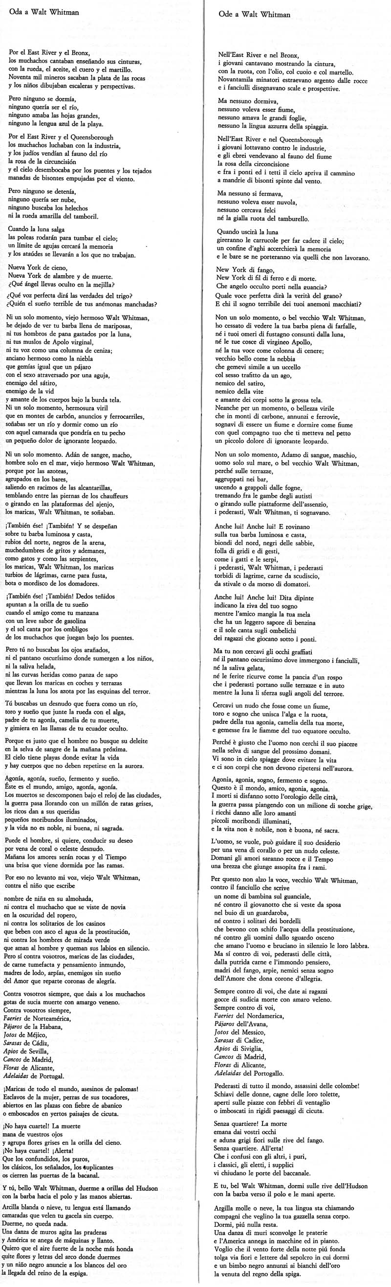 Federico Garcia Lorca - Ode a Walt Whitman
