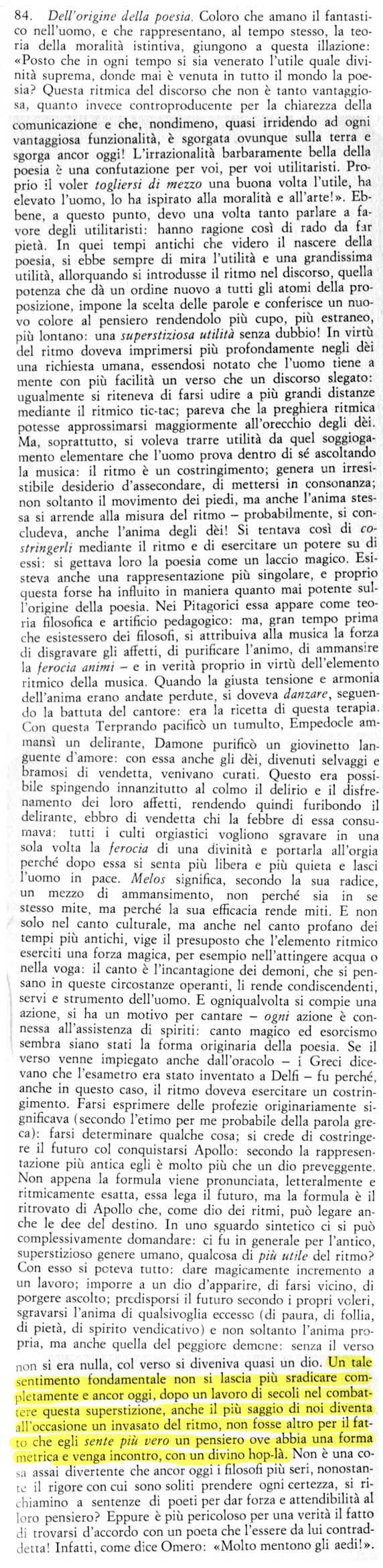 Friedrich Nietzsche, La Gaia Scienza, aforisma 84
