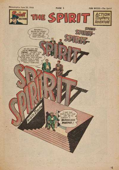 Will Eisner, The Spirit 20.06.1948 frontespizio originale