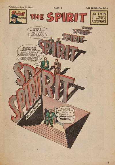 Will Eisner, The Spirit 20.06.1948 frontespizio originale