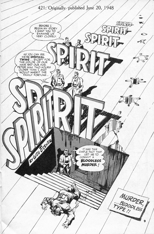 Will Eisner, The Spirit 20.06.1948 frontespizio dellla ristampa in bianco e nero degli anni Sessanta
